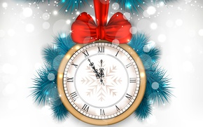 Picture branches, red, glare, holiday, watch, vector, white background, New year, bow, midnight