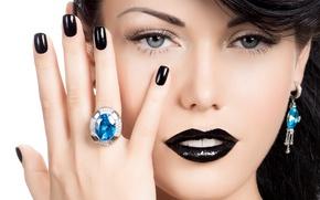 Wallpaper ring, look, model, brunette, make up