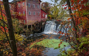Wallpaper USA, forest, river, Augusta, autumn, water mill, trees, waterfall, Wisconsin