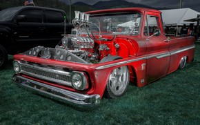 Picture red, engine, Chevrolet, pickup, motor