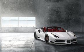 Wallpaper Ferrari, Front, White, Supercar, Wide, 488, Rearl