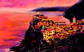 Picture landscape, the city, picture, Italy, Vernazza, Cinque Terre, Christian Seebauer