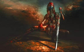 Wallpaper pose, feathers, background, crown, Diadema, paint, girl, sword, RED SKY OVER UTAH