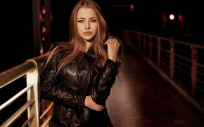 Wallpaper close up, bokeh, lips, portrait, looking at camera, long hair, model, Alexandra Danilova, hand in ...