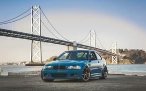 Picture BMW, Blue, E46, Sea