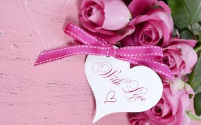 Picture the inscription, roses, bouquet, heart, bow