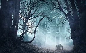 Picture trees, fog, building, man, Lovecraft's The Thing in the Doorstep