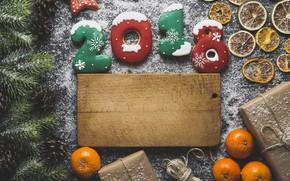 Picture new year, spruce, cookies, citrus, flour, Mandarin