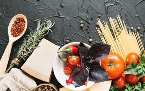 Picture cheese, tomato, spaghetti, Basil