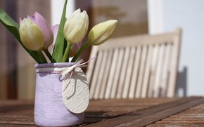 Picture flowers, bouquet, tulips, flower, wood