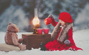Picture winter, snow, mood, toy, lamp, the tea party, girl, bear, box, Teddy bear