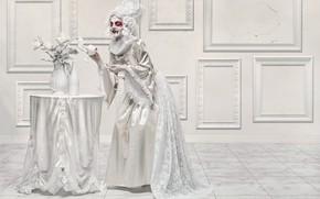 Wallpaper girl, blood, bowl, vampire
