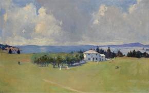 Picture trees, landscape, house, picture, Frank Weston Benson, Frank Benson, Wooster Farm