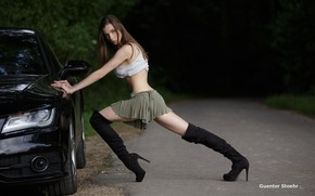 Picture road, forest, sexy, pose, black, model, skirt, boots, makeup, Mike, hairstyle, brown hair, car, roadside, …