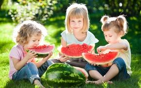 Picture summer, grass, the sun, joy, children, stay, girls, watermelon, summer, friends, beautiful, sun, children, Little …