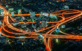 Picture light, night, road, home, Thailand, Bangkok