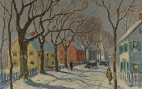 Picture winter, trees, street, home, picture, the urban landscape, Guy Carleton Wiggins, Guy Wiggins, Pleasant Street. …