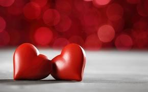 Wallpaper red, love, romantic, hearts, bokeh, valentine`s day