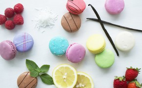 Wallpaper raspberry, lemon, strawberry, vanilla, macaroon