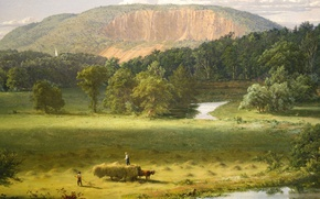 Picture landscape, river, mountain, picture, hay, wagon, West Rock. New Haven, Frederic Edwin Church