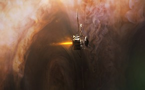 Picture space, flame, camera, Juno, Jupiter Orbit Insertion Burn