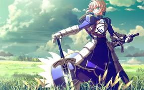 Picture girl, anime, art, saber, His, Artoria Pendragon, fate stay, Alter