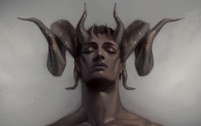 Wallpaper face, horns, the demon, guy, art, fantasy