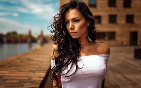 Picture the sun, river, portrait, makeup, brunette, tattoo, hairstyle, beauty, t-shirt, promenade, bokeh, Natalie, Miro Hofmann