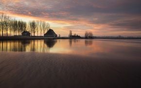 Picture sunset, nature, lake, house