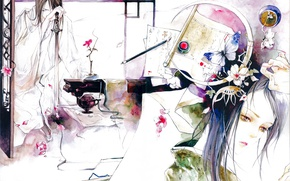 Picture flower, girl, table, butterfly, katana, watercolor, vase, guy, sheets, brush, Japanese clothing, art, Eno
