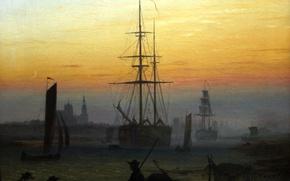 Picture ship, picture, silhouette, Harbour, Caspar David Friedrich