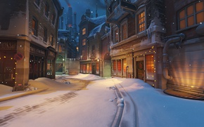 Picture shooter, Kings Row, Blizzard, Christmas, garland, street, the city, Christmas, Overwatch, home, snow, the game