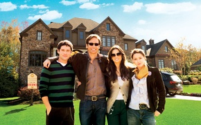 Picture the sky, the sun, house, lawn, actors, car, David Duchovny, mansion, romance, poster, drama, Amber …