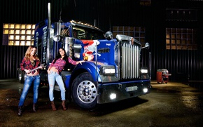 Picture look, Girls, key, brunette, two beautiful girls, blondes, blue truck