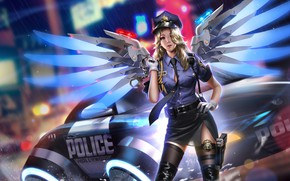 Picture machine, girl, lights, gun, weapons, rain, wings, police, art, form, handcuffs, overwatch, mercy, liang xing