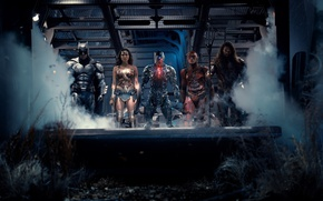 Wallpaper Wonder Woman, Batman, Movie, Cyborg, Flash, Aquaman, Justice League, Justice League