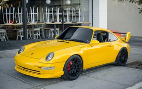 Wallpaper yellow, Porsche, the front