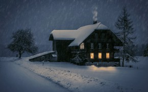 Wallpaper winter, Romantic Winter Evening, snow, night, house