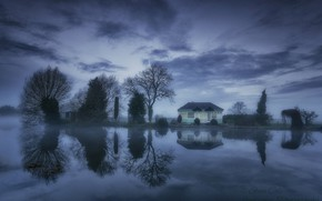 Picture clouds, trees, lake, house, reflection, England, Normanton he's a COP