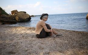 Picture girl, shore, surf, hat, Dmitry Pererva, Pererva Dmitry