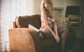 Picture sofa, stockings, neckline, legs, Vintage