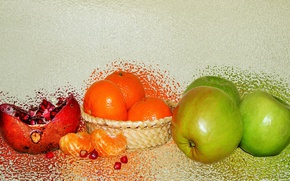 Picture fruit, still life, garnet, tangerines, author's photo by Elena Anikina, green apples