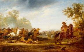 Picture oil, picture, Abraham van der Hoef, Kavaleriiskaya Battle