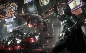 Picture Night, The game, Machine, Rain, Batman, Costume, Fight, Hero, Shooting, Car, Cloak, Superhero, Hero, Blow, …