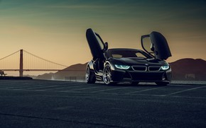 Picture sunset, mountains, bridge, Gran Turismo, BMW i8