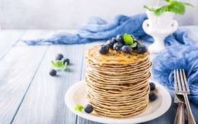 Picture berries, blueberries, honey, pancakes, pancakes