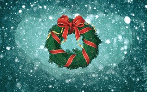 Picture Winter, Minimalism, Snow, New Year, Christmas, Background, Holiday, Mood, Bow, Wreath, Christmas wreath