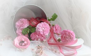 Picture flowers, bouquet, bucket, tape