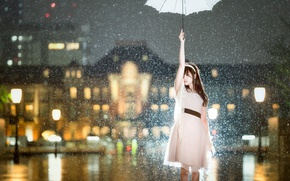 Wallpaper Asian, dress, mood, girl, the city, the situation, snow, umbrella