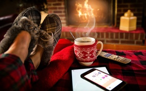 Picture room, feet, remote, mug, fireplace, smartphone, Slippers